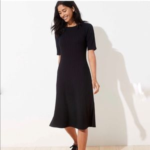 Ann Taylor Loft Petite Ribbed Midi Dress Black XSP